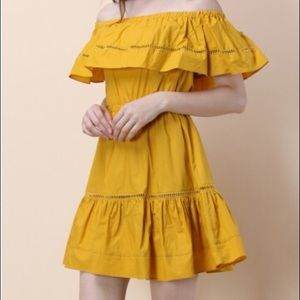 Chicwish off-shoulder mustard dress Size S